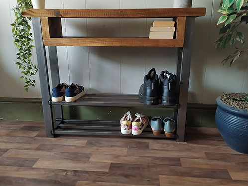 644 : Console table chunky wood with double shoe rack to base