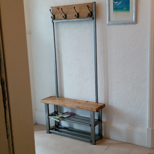310: Coat stand with bench seat & double shelf shoe storage