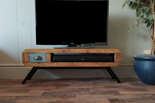 639  : Tv stand narrow retro style with small drawer  black frame