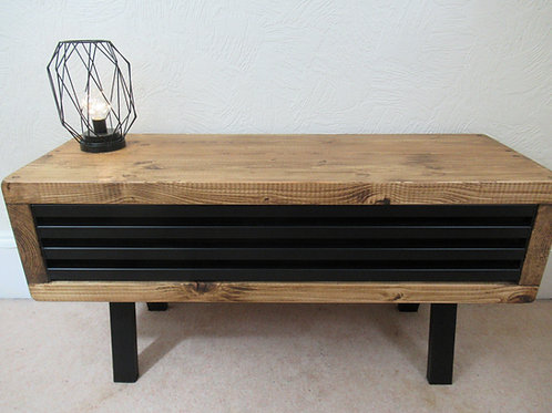 543 :Tv stand tall Black drop down grid front tv table