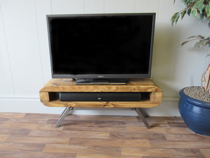 SS280: Tv unit Narrow retro style rustic industrial tv stand 90cm