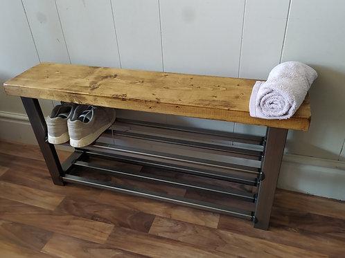 279: Hallway bench with two shelf shoe rack to base