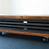Thumbnail: 591 : Tv stand with drop down metal front and cast iron castors to base tv table