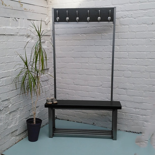 287: -Large contemporary coat stand with bench seat finished in Black satin
