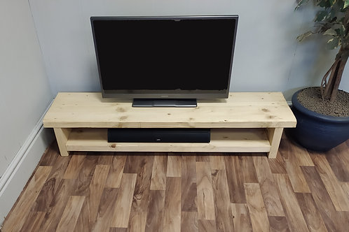 589 - Very low rustic tv stand finished in light oak