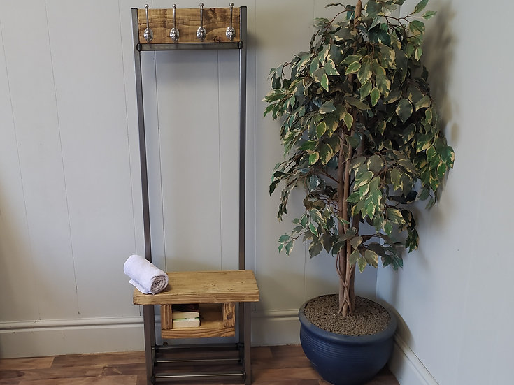 611  : Coat stand narrow with shelf  4 nickel hooks Bijou coat stand with