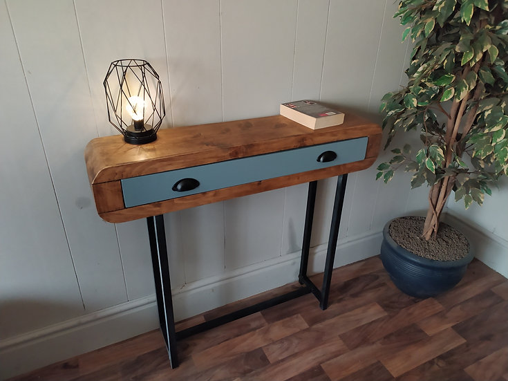625 : Console table solid wood drawer black frame