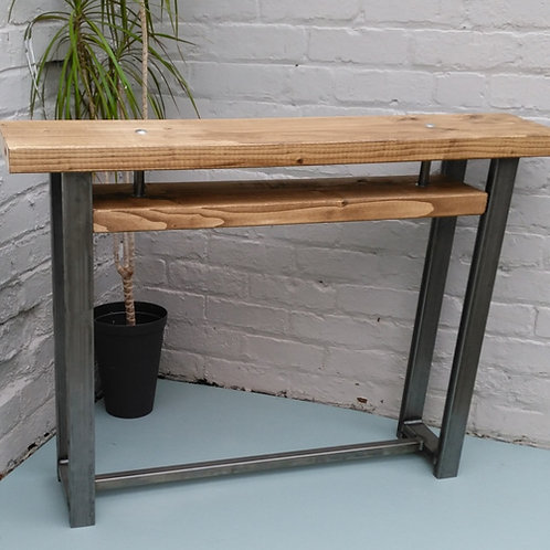 296:Console table with small shelf contemporary style rustic industrial