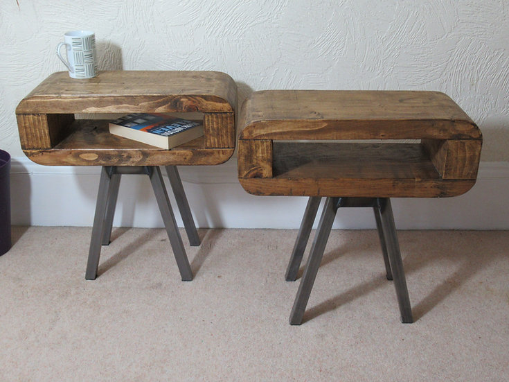 307: Retro style slim bedside tables set of two