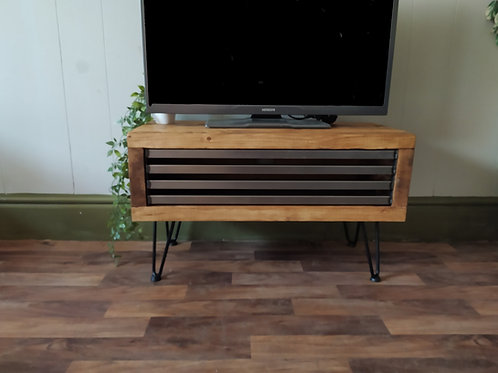 402: Tv stand rustic industrial drop down front Hairpin legs