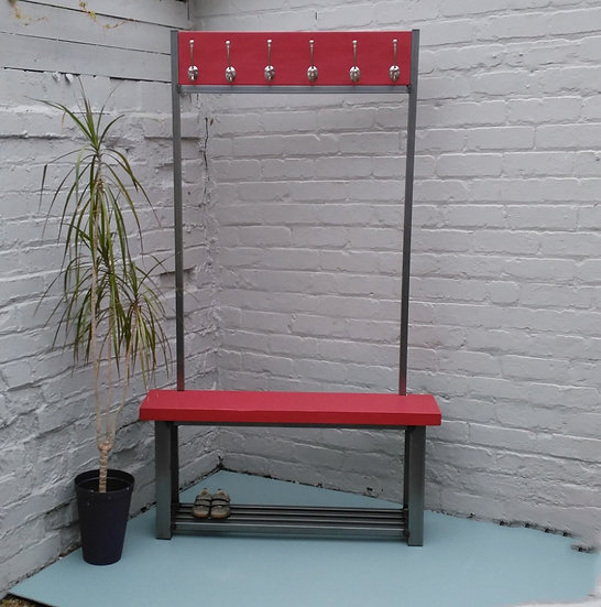 285: Large contemporary coat stand with bench seat finished in Blazer
