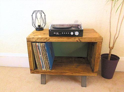 578 : Vinyl record storage enclosed back, LP storage, tv stand.