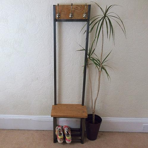577 : Oak Slim coat stand, Bijou coat stand solid Oak seat and backboard