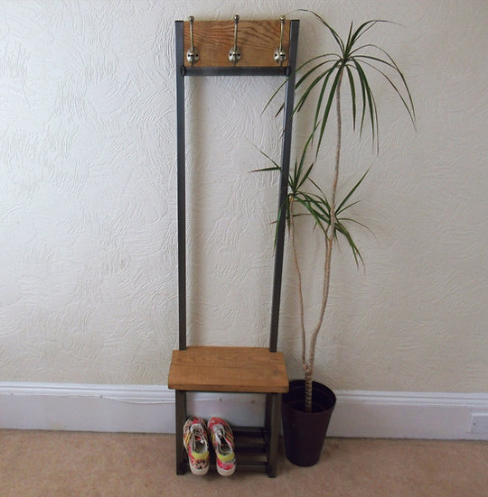 577 : Oak Slim coat stand, Bijou coat stand solid Oak seat and backboard