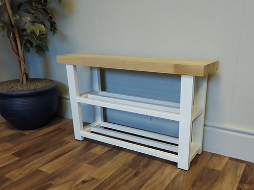 608 : Shoe rack bench with storage shelves in White solid Oak seat