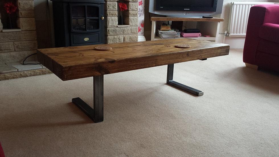 181: Coffee table chunky wood L shaped base