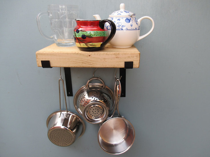 548: Wall shelf, small kitchen shelves, pan hanging rail narrow 17 cm shelves