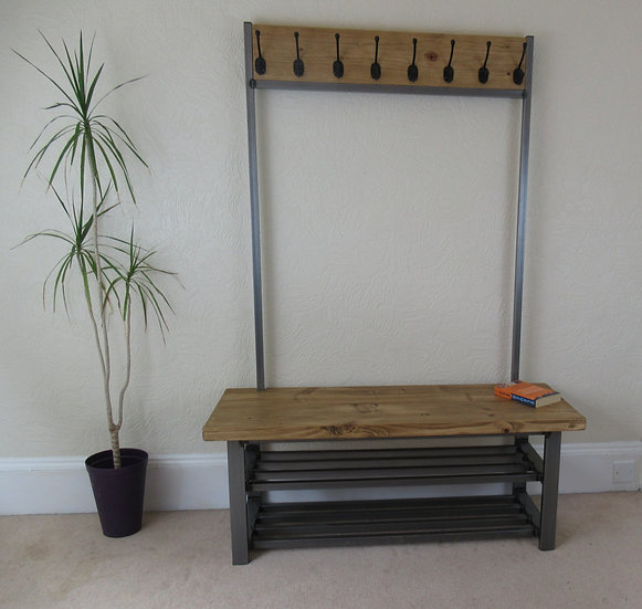 420 : Coat stand with bench seat & double shelf shoe storage very large