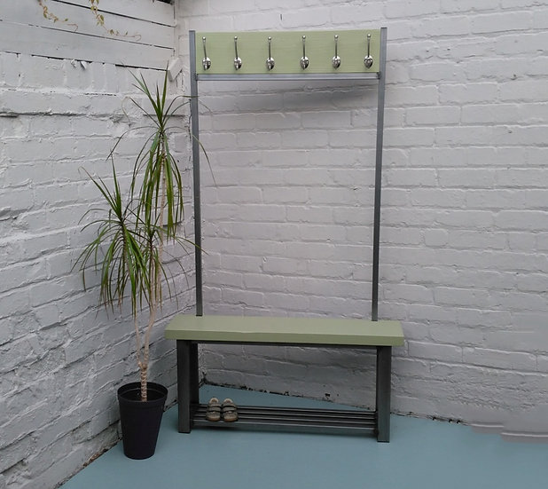 288: Large contemporary coat stand with bench seat finished in French Gray