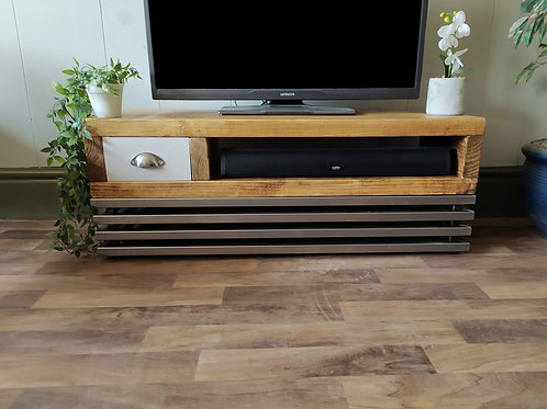 504 : Tv stand rustic tv table with small drawer and steel grid base