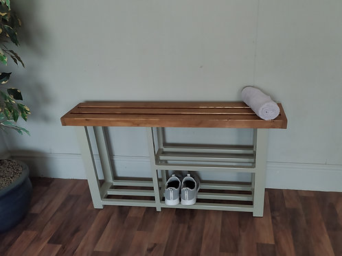 531 : Shoe and  Welly boot rack, two shelf hallway bench French Gray
