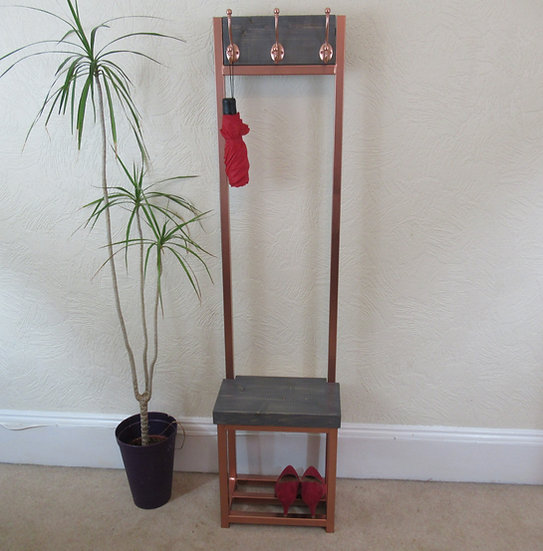 527 : Coat stand, Grey wash and bright copper finish, narrow coat stand