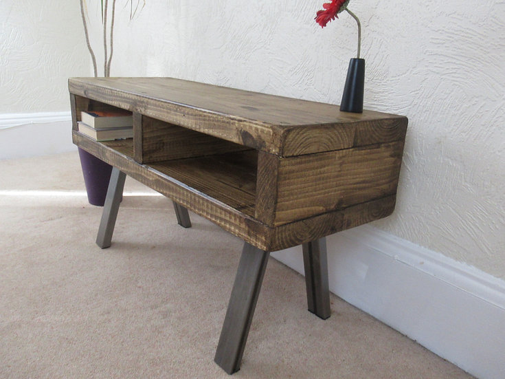 216: Tall  tv stand with centre partition rustic industrial