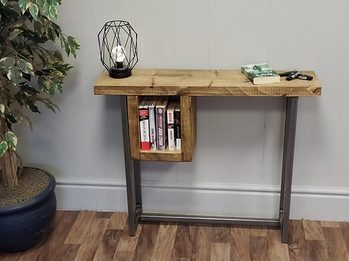 598 : Console table contemporary tall table with slim shelf to side