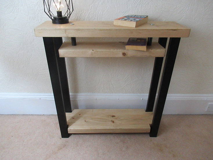 554 : Console table with shelf to base contemporary style black frame