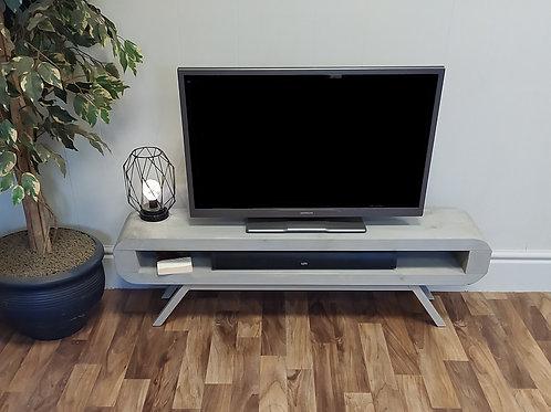 553  : Tv stand grey wash wax finish light grey base narrow retro style tv table