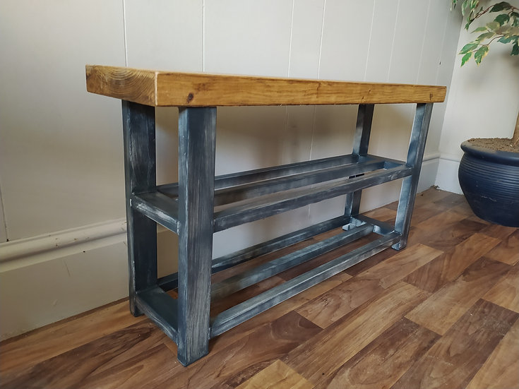 617 : Shoe rack bench 2 shelf hallway bench weathered slate finish