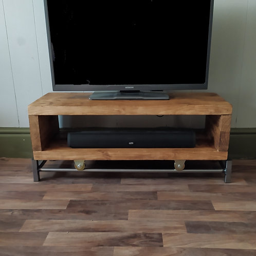 378 : Tv stand with sliding rail track to base  low table