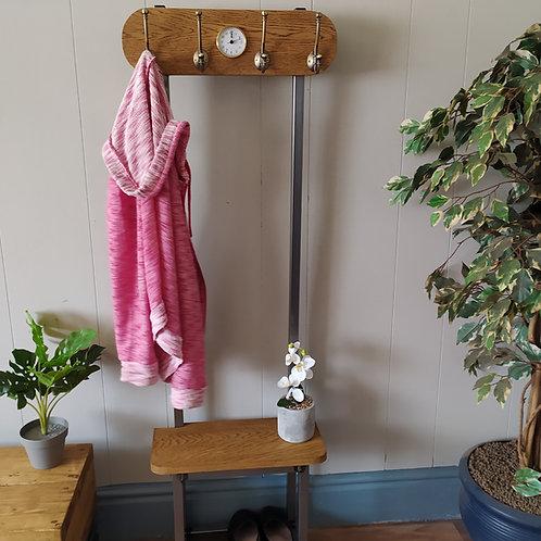 530 : Oak Slim coat stand, solid Oak seat and backboard small clock