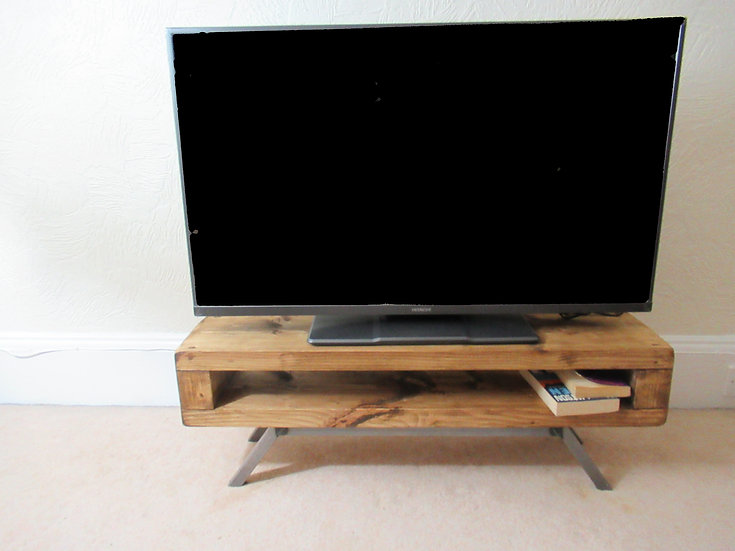 541: Tv unit Narrow rustic industrial mid century tv stand