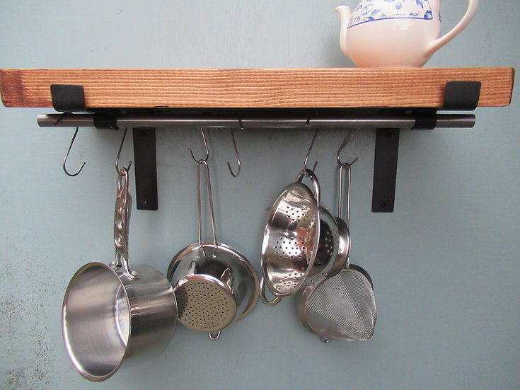 564 : Rustic shelve with double pot /pan hanging rail solid wood