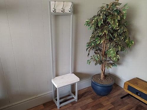 626 : Coat stand slim hallway bijou coat rack Light grey frame Whitewashed