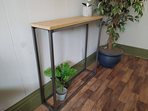 329  : Console table slim solid oak top steel base minimalist