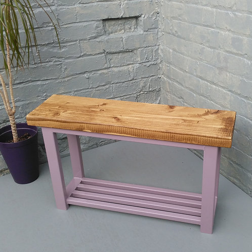 619 : Hallway bench with shoe rack to base in Lavender shade