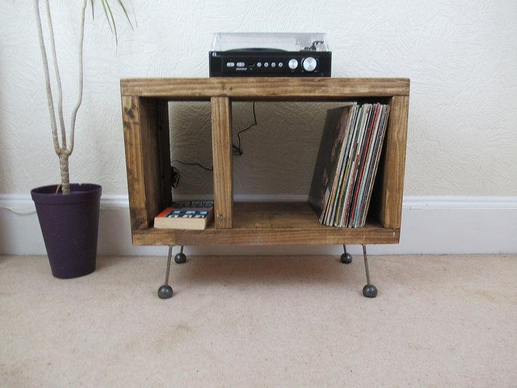 521: Record Player Stand, TV stand, Vinyl record storage, retro atomic ball feet