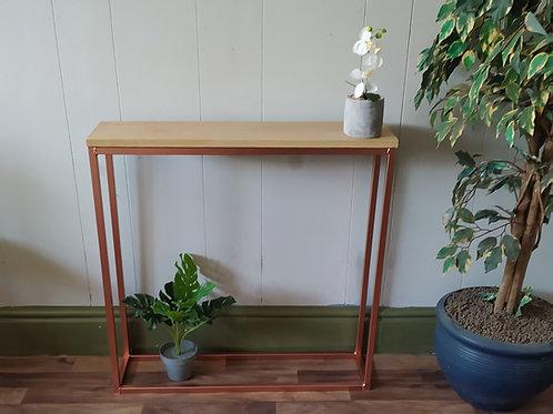320 : Console table slim solid oak top bright copper base