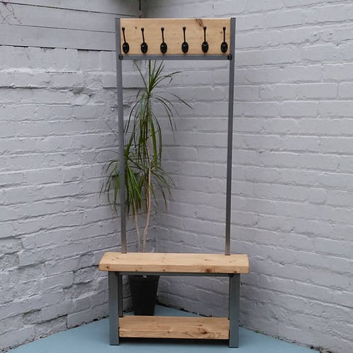185:  - Large coat stand with bench seat light oak finish