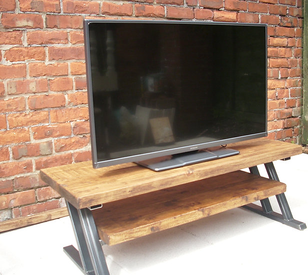 210 - Large tv stand rustic top & metal Z frame