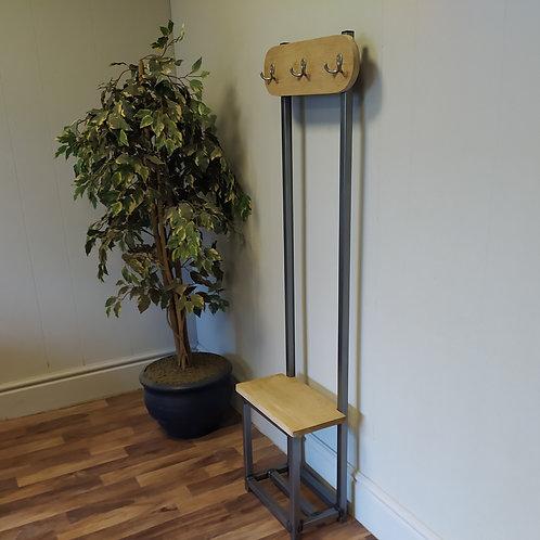 606  : Oak Slim coat stand, Oval design solid Oak square seat and backboard