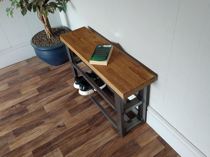 609 : Shoe rack bench 2 shelf hallway bench solid oak seat