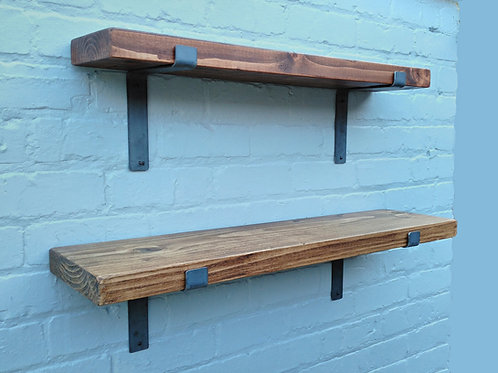 278: Rustic solid wood Shelve with Metal Brackets for shelving