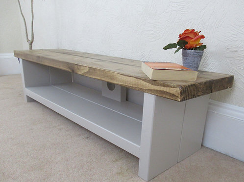 133: Tv stand large and low rustic tv unit 140 cm