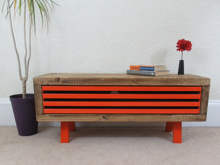 253: Grid front tv stand funky orange industrial style
