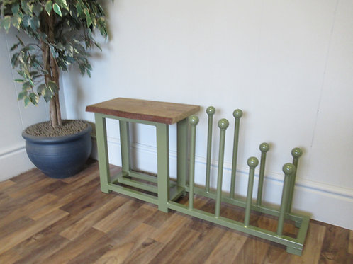 635 : Boot rack, welly rack hallway storage bench with solid Oak seat