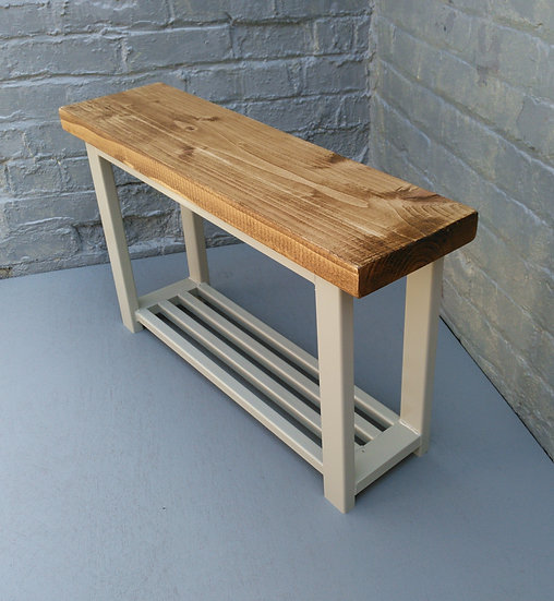 481: Hallway bench with shoe rack to base in french grey