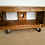 Thumbnail: 590: Tv stand chunky wood with cast iron industrial swivel wheels